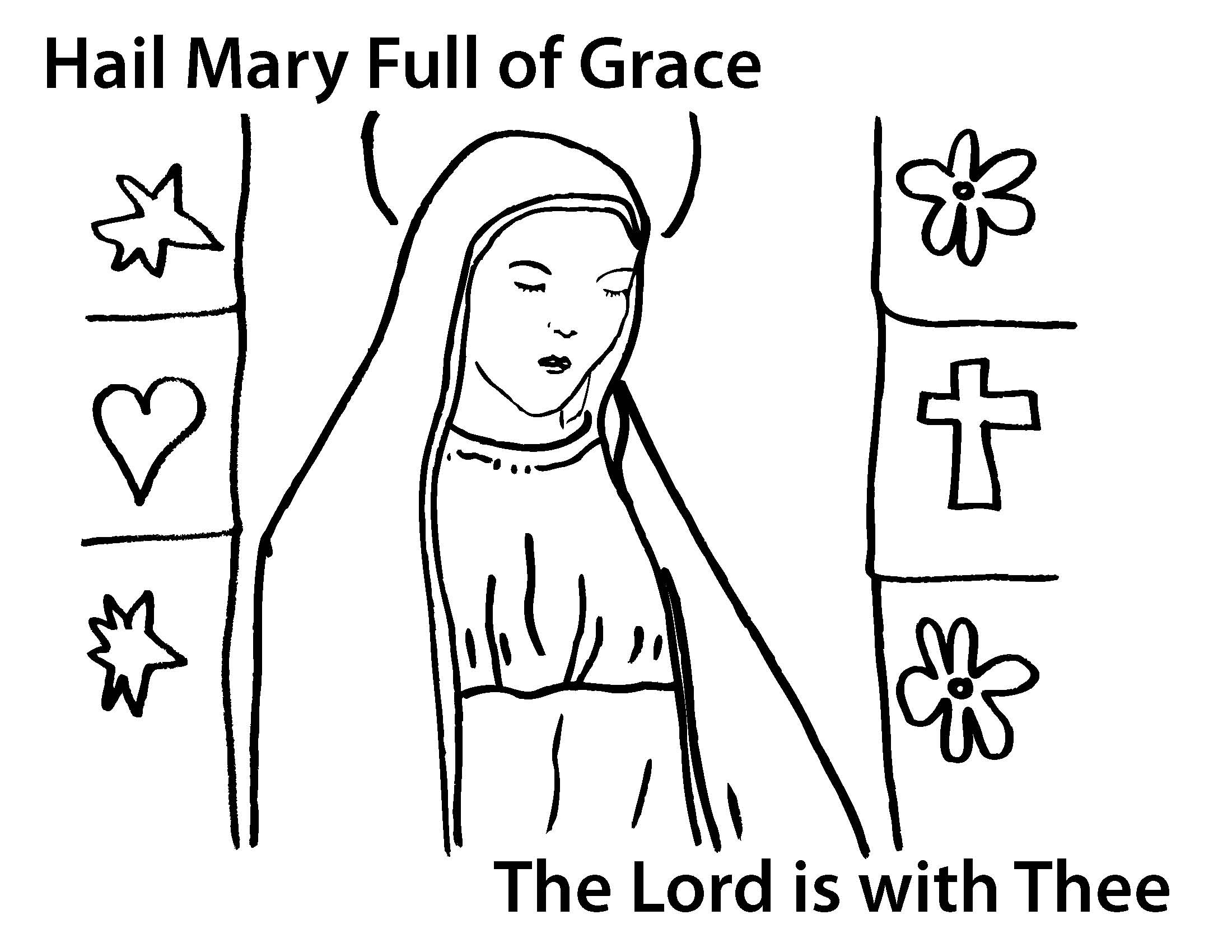 Thelittleways Hail Mary Coloring Page