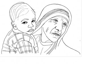 Incredible beautiful free catholic coloring pages little for Mother teresa coloring page