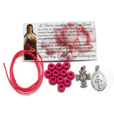 kit-sacrifice-beads-pink-fiveway-cross-miraculous-medal